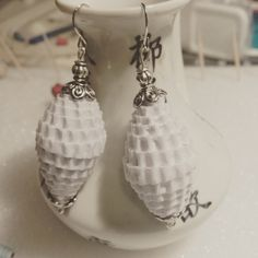 White corrugated paper bead earrings by CJhandmadeJewelry on Etsy