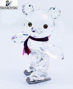 7329a1ee435 Swarovski Clear Crystal Figurine KRIS BEAR ON SKATES w/ Artist Signature  #193011 Size: