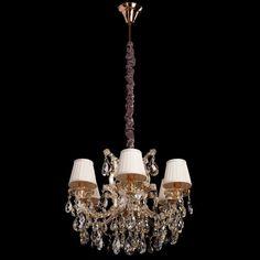Klassischer Kristall Kronleuchter mit Stoffschirmen Chiaro 479010506