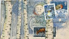 Postcard printed from my mail art collaged with vintage stamps, my original gouache paintings, and vintage envelopes.    Stamps feature deer and birds in