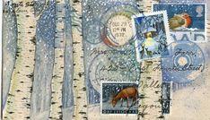 Birches in snow postcard by Wendy Wallin Malinow
