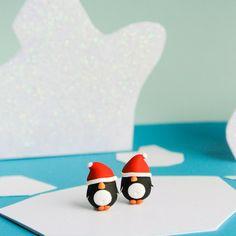 Christmas Penguin Stud Earrings Fun Handmade by Creatureshire