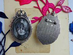duża broszka/medalion noc - Victorian----rose - Broszki kamee