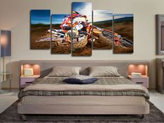 Framed motocross extreme racing wall art oil painting on canvas Home Decor 5pcs #Unbranded #ArtDeco