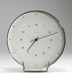 Max Bill; Aluminum and Glass 'Atomat' Wall Clock for Junghans, c1956.