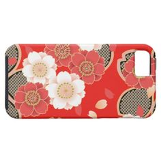 Cute Vintage Floral Red White Vector iPhone 5 Cover