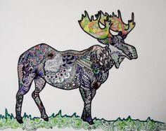 Unique M O O S E Original Art Print 8x10 VIBRANT Color - Sharpie Art - Zentangle Moose