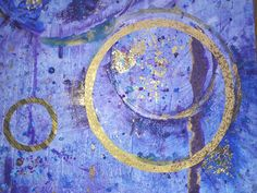 Space Ritual | Blue Purple Gold Painting | Abstract | Framed Artwork | New Age | Meditation | Art and Music | Yoga | Chakras | Free UK P&P by starsandstems on Etsy