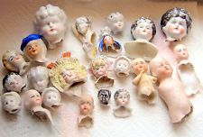 22 antique original painted excavated victorian bisque doll heads - Germany1890