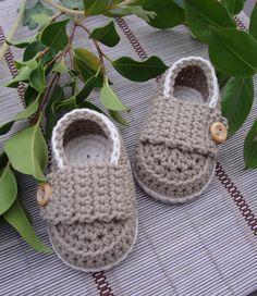 Botitas de bebé de ganchillo mocasines poco café por Ohprettypretty