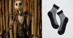Trend Alert: These Disney-inspired socks are magical | The Nightmare Before Christmas striped socks | [ https://style.disney.com/shopping/2016/06/27/sheer-socks/#disney-store ]