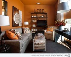 15 Close to Fruity Orange Living Room Designs Home Design Lover Grey Orange Living room. Living room orange, Living room decor orange, L. Grey And Orange Living Room, Orange Rooms, Orange Walls, Living Room Grey, Home Living Room, Living Room Decor, Orange Living Room Paint, Dining Room, Orange Room Decor