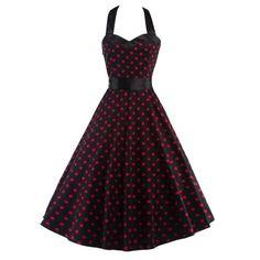 Vintage Open Back Polka Dot Dress For Women