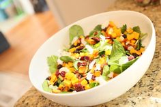 Butternut Squash and Spinach Salad. Wanna give this recipe a shot? - http://paleoaholic.com/paleo/butternut-squash-and-spinach-salad/
