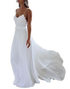 DreHouse Women's Spaghetti Strps Chiffon Beach Wedding Dresses Summer Bridal Dress Plus Size