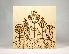 Original Wood Burning Art / Pyrography Art / Flower Hill on Etsy, $27.34 AUD