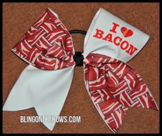 I Love Bacon OOAK CHEER bow by blingonthebowz on Etsy, $14.00