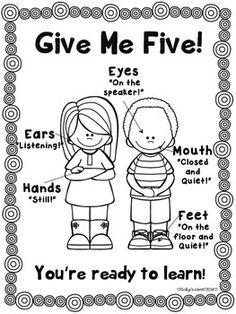 A Give Me Five Behavior Management Attention Grabber Poster