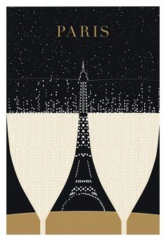 I like the use of negative space between the two champagne flutes to house the Eiffel Tower.