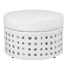 Portofino Outdoor Round Ottoman - White from Z Gallerie