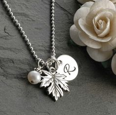 Maple Leaf Initial Necklace - with pearl - sterling silver.