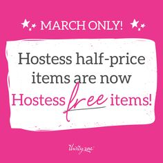 March ONLY! Any hostess reward half-priced items will not be half-prices this month, they will be FREE!!! What does this mean? Host a $200-$599 party, get any one item out of the catalog free in addition to all other hostess rewards. Host a $600+ party, pick any two items FREE... Yes, even our $148 diamond district purses are included.