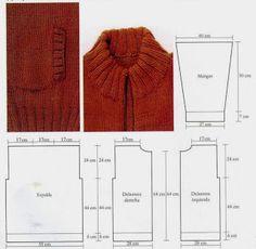 Patrones de Tejido Gratis - Campera con bolsillos Baby Booties, Knitting Needles, Men Sweater, Pullover, My Love, Sweaters, Vest, Tops, Lana