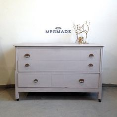 1013-00112 Sweet Small Gray Dresser on Castors by MegMade