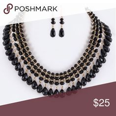 """Fringe Bead Statement Necklace Set New Earrings 2"""" Drop New with tags  Necklace 18"""" + Extension Jewelry Necklaces"""