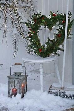 Pretty heart wreath, shabby chic chair and rustic lantern. Add snow! Kendrasmiles4u