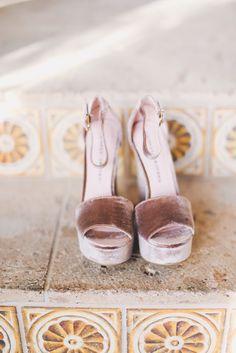 Cute Girl Perfect For Spring Summer Pale Blush Pink Velvet Open Toed High Heel Sandal Wedges