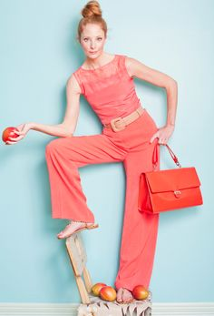 COSIMA LACE DETAIL TOP IN WATERMELON, ROXANNE WIDE LEG TROUSER IN WATERMELON, GIANNA WIDE PATENT LEATHER BELT IN DUSTY ROSE, JUNIPER PATENT LEATHER TOTE IN CORAL, AND ISLAND SANDAL IN CHEETAH PRINT PONYSKIN, ALL AT L.K.BENNETT.  #SPRINGSPLASH