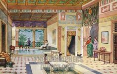 A Roman house looking through the Atrium into the Tablinum and the gardens beyond (either a hortus or peristyle, can't tell which). Illustration by J Williamson