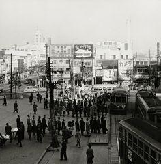 In front of Shibuya Station (Hachiko Gate). Shibuya, Tokyo  around 1955. 渋谷 #Japan #vintage