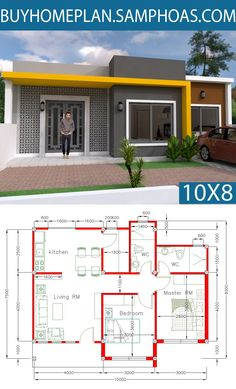Simple Home Design Plan with 2 Bedrooms plot This villa is modeling by SAM-ARCHITECT With One story level. It's has 2 bedrooms with Small Modern House Plans, Beautiful House Plans, My House Plans, House Layout Plans, House Layouts, 2 Bedroom House Plans, Simple House Design, House Front Design, Modern House Design