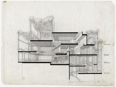 Penthouse Apartment, 23 Beekman Place, New York City, Perspective section by Paul Rudolph Section Drawing Architecture, Architecture Design, Architecture Graphics, Architecture Portfolio, Commercial Architecture, Architecture Diagrams, Bow Wow, Sectional Perspective, Alison And Peter Smithson