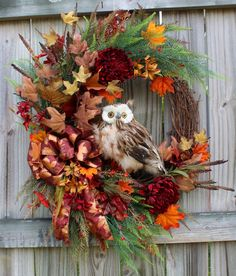 XL Rustic Burgundy Copper and Brown Feathered Owl Fall Wreath,  by IrishGirlsWreaths