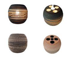 BECZKA 302 - LAMPA Z KARTONU / Nazwa: BECZKA 302 / Średnica: 30 cm / Wysokość: 27 cm / Dolny otwór : 18 cm / Cardboard lamp; #light #interior #home #design #homedesign #cardboard