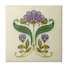 """AN015 Art Nouveau Reproduction Antique Tile. Historical antique tile reproduced on a smooth surface 4.25"""" or 6"""" ceramic tile. Perfect for interior tile wall accents, backsplashes, fireplace surrounds, bathroom and showers walls, kitchens and craft projects. Not intended for outdoor use."""