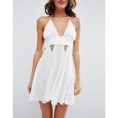 ASOS Cut Out Ruched Beach Sundress (250 DKK) via Polyvore featuring dresses, halter neck dress, halter sundress, asos dresses, ruched dress and cut out dresses