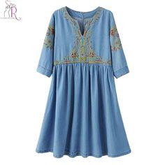 Blue V-neck Embroidery Floral Half Sleeve Denim Skater Dress Midi Casual Dresses Spring Women Clothing