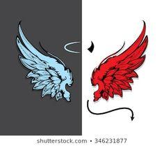 Hand drawn angel and devil wings Angel Wings Art, Angel Wings Drawing, Demon Wings, Lucifer Wings, Angel Devil Tattoo, Angel And Devil, Art Drawings Sketches, Cute Drawings, Pencil Drawings
