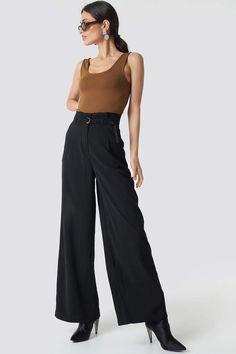 a033a24c7325 Na Kd Trend Paperbag Waist Wide Pants Black Hohe Taille, Seitentaschen,  Kleidung, Weite