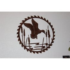 Duck in Reeds on Sawblade Metal Wall Art Country Rustic Hunting Home Decor