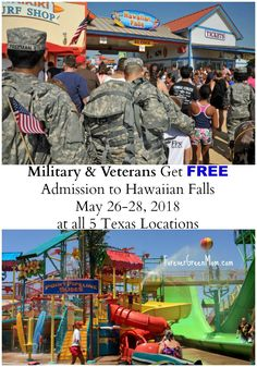 Once again Hawaiian Falls will let Military Personnel get in free on Memorial Day Weekend. Please read and spread the word. Military Veterans, Military Personnel, Dallas Fort Worth Texas, Free Admission, Memorial Day, Hawaiian, Memories, Reading, Fall