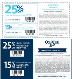 Pinned December 12th: 15-25% off at Carters & #OshKosh Bgosh or online via promo code MERRY15 #coupon via The #Coupons App Oshkosh Bgosh, Shopping Coupons, Kids And Parenting, December, Coding, App, Apps, Programming
