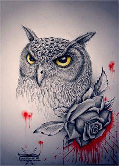 Owl ink by EdwardMiller.deviantart.com on @deviantART