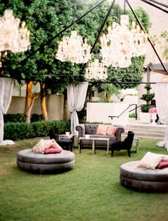 Home design, Large Round Ottoman And Colorful Pillows With Gorgeous Outdoor…