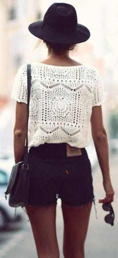 Crochet + cutoffs.