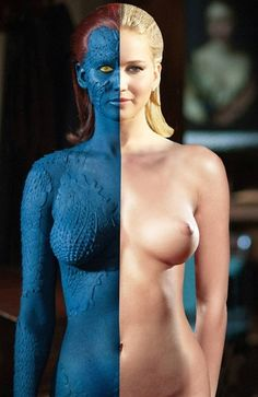 Mystique | Rebecca Romijin, beautiful ! a lot of work to transfer her into the X-Men baddie but Goodie !